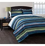 Bed in a Bag American Original Blue Pacific Stripe Reversible Complete Bedding Set, Green (Twin XL)