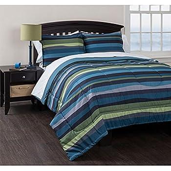 Amazon Com Twin Geo Stripes Blue Reversible Comforter