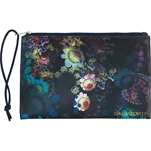 "Cynthia Rowley Deluxe Storage Pouch ~ Black Floral (5.8"" x 8.5""; Navy Zipper Closure)"