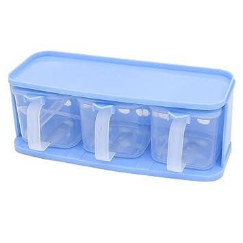 Sourcingmap – Cocina de plástico 3 celdas especias sal condimento dispensador de contenedores