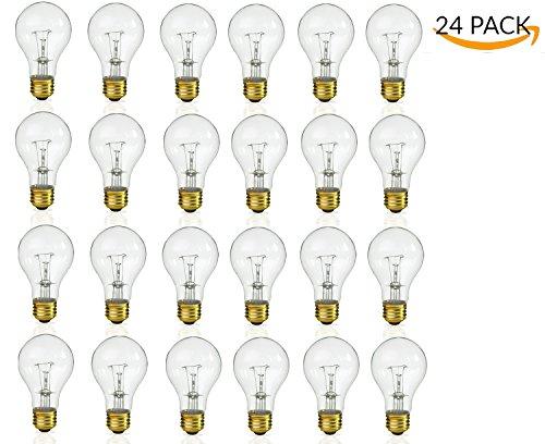 - (Pack Of 24) Incandescent 60 Watt A19 Light Bulb: Clear Standard Household E26 Medium Base Rough Service Light Bulbs