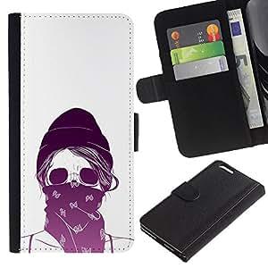 JackGot ( Violeta Blanco cráneo bufanda Protestando ) Apple (5.5 inches!!!) iPhone 6+ Plus / 6S+ Plus la tarjeta de Crédito Slots PU Funda de cuero Monedero caso cubierta de piel