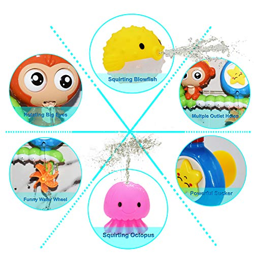 HEDGBOBO Baby Bath Toy Monkey Starfish Flow Spout Make Sprinkle Spinning Gear, 1 Water Scoop with Bear face 1 Octopus Squirt 1 Blowfish Squirt for a 1 2 3 Year Old Kids