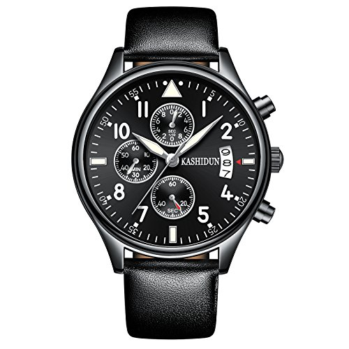 KASHIDUN Men's Watches Calendar Date Chronograph Waterproof Luminous Military Watch For Men - Sale Black