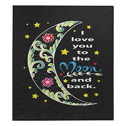 InterestPrint I Love You to The Moon and Back Cotton Quilted Quilt Bed Spread Blanket Throw 70