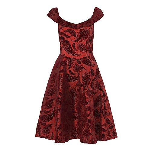 Voodoo Vixen Damen Plissee Kleid Rot Burgunderrot
