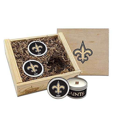 Worthy Promo NFL Scented Candles Gift Set in Wood Box (New Orleans Saints)