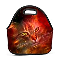 Cool Fire Cat Insulated Neoprene Lunch Bag for Men Women and Kids - Reusable Soft Lunch Box for Work and School Water-Resistant 3D Printed