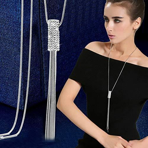Hebel Fashion Women Crystal Tassel Pendant Long Chain Sweater Necklace Jewelry Gift   Model NCKLCS - 33091  