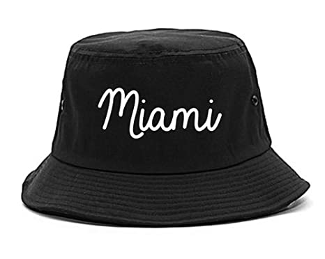 c585245b9d5 Amazon.com  Miami Florida Script Chest Bucket Hat Black  Clothing