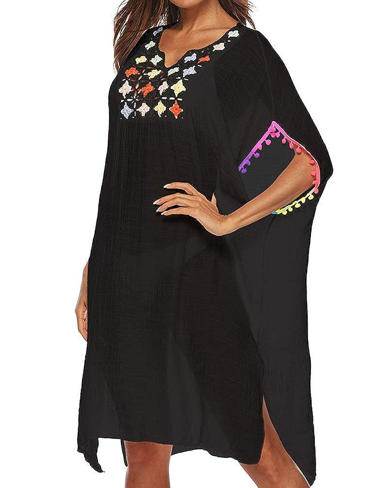 34299c4d464005 Womens Bathing Suit Cover Ups Cotton Tassel Crochet Trim Bikini Swimsuit  Beach Cover Ups (2019 New Black) at Amazon Women's Clothing store: