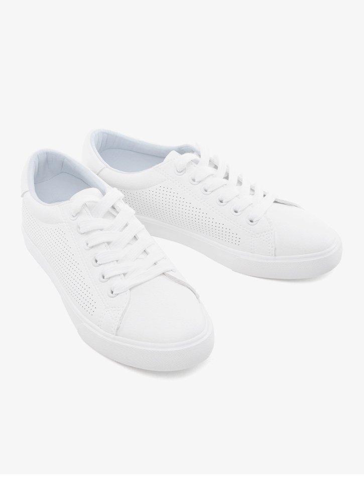 DHG Flache Schuhe des Collegewinds, zufällige Schuhe der Flache Kleinen Frischen Dame durchbohren, Flache der Schuhe der Spitzes,Weiß,38 - 58f916