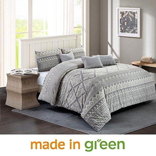 Wonder-Home 6 Piece Patchwork Printed Cotton Comforter Set, Luxury Unique Grey Bedding Set with Dec Pillows, King, 104x90