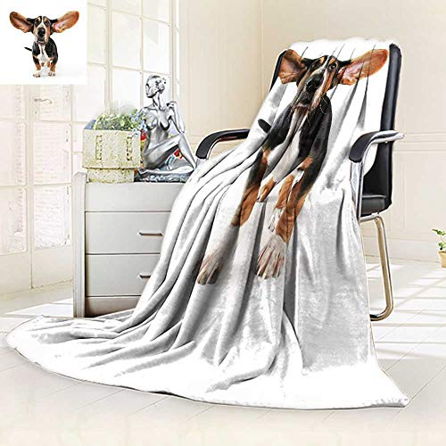 YOYI-HOME Warm Microfiber All Season Duplex Printed Blanket I a bas Hound with his Ears Flying Away Isolated ona White Polyester Fabric Print Artwork Image/79 W by 47