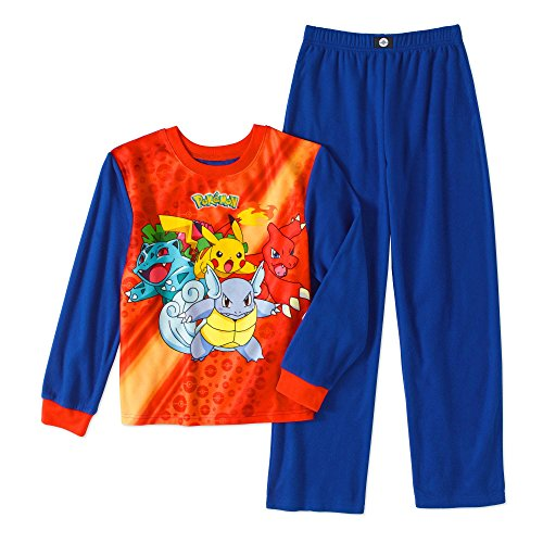 Pokemon Boys' Poly 2-Piece Pajama Sleepwear PJs Set (10/12, Blue)