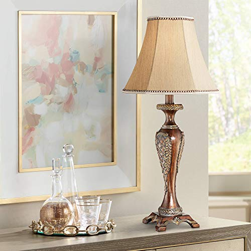 Hanna Traditional Accent Table Lamp Dark Bronze Candlestick Floral Detail Bell Shade for Living Room Family Bedroom Bedside - Regency Hill Antique Cherry Finish Table Lamps