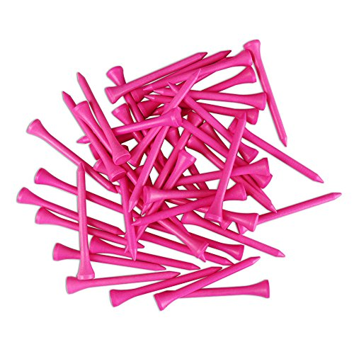 GOLTERS Wood Golf Tees 2-3/4 inch, Pack of 50 (Pink)