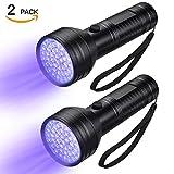 FOLKSMATE UV Flashlight Black Light, 51 LED 395 nM Ultraviolet Blacklight Detector for Dogs, Pet Stains, Bed Bugs, Scorpions, 2 Pack