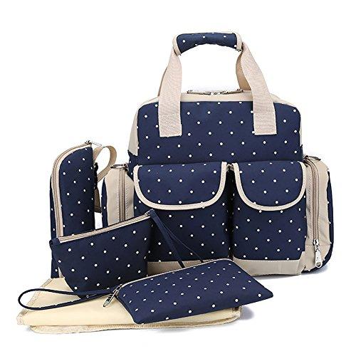 Autohome 5 Pieces Multi Function Bag Changing Pad Milk Bottle Bag Handbag For Baby Mummy  Deep Blue