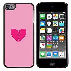 For Apple iPod Touch 6 6th Touch6 Case , Rosa del amor del corazón quebrado- Diseño Patrón Teléfono Caso Cubierta Case Bumper Duro Protección Case Cover Funda