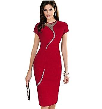Minetom Femme Elégant Slim Robe Crayon Manches Courtes Soirée Cocktail  Clubwear Patchwork Dress Rouge FR 34 1fc4cb0d8da2