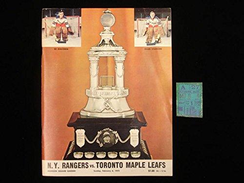 (February 6, 1972 Toronto Maple Leafs @ NY Rangers Program & Ticket)