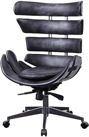 Amazon Com Acme Megan Executive Office Chair Vintage Black Top Grain Leather Aluminum Furniture Decor