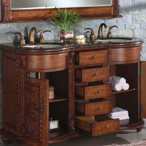 Silkroad Exclusive WFH-0201-BB-UWC-54 Alexandra 54 Double Sink Cabinet with 5 Drawers 2 Doors Baltic Brown Granite Top and Undermount White Ceramic Sinks 3-Hole in Chestnut