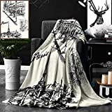 Unique Custom Double Sides Print Flannel Blankets Eiffel Tower Decor Paris Sketch Style Cafe Restaurant Landmark Canal Boat Streetla Super Soft Blanketry for Bed Couch, Throw Blanket 50 x 60 Inches