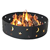 Sunnydaze Cosmic Stars and Moon Campfire Ring, 36 Inch Diameter
