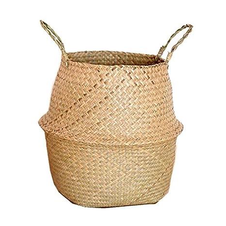 Tama/ño: 2XL Amosz Canasta de Mimbre de Mimbre de Seagrass Colgante de Maceta Sucia Canasta de Almacenamiento de Cesta de lavander/ía