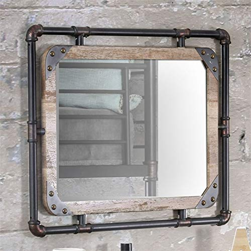 Furniture of America Gee Industrial Wall Mirror in Antique - For Industrial Style Mirrors Bathroom