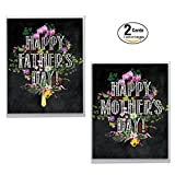 AJ6098XXG-C1x2 'Chalk and Roses Family Pack': Assorted Box of 2 Mother's and Father's Day Cards Featuring Chalkboard Style Writing Combined with Beautiful and Colorful Floral Sprays, with Env.