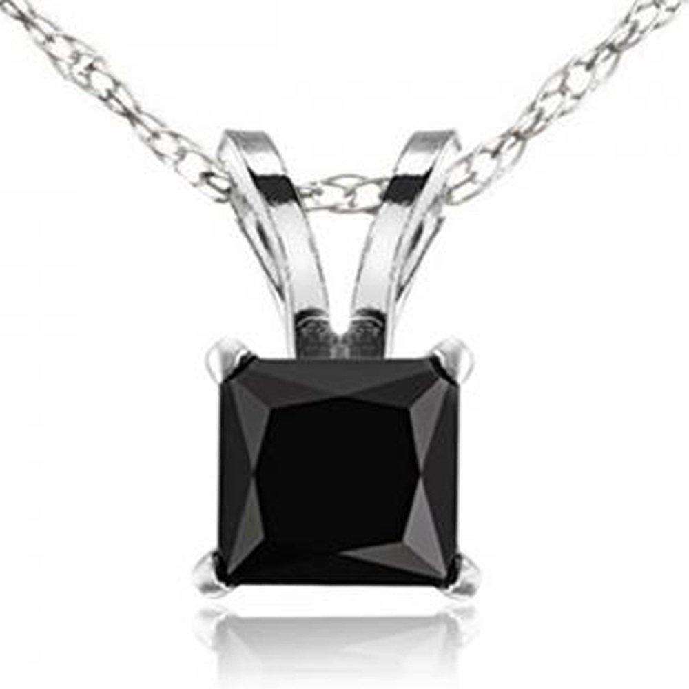 1.00 Carat (ctw) 14K White Gold Princess Cut Black Diamond Ladies Solitaire Pendant 1 CT