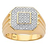 Men s 10K Yellow Gold Diamond Octagon Ring (.09 cttw, HI Color, I3 Clarity)