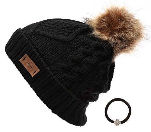 Women's Winter Fleece Lined Cable Knitted Pom Pom Beanie Hat with Hair Tie.(Black) (Knitted Beanie Hat Pattern)