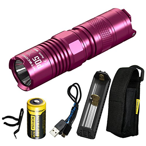 Nitecore P05 460 Lumen Pink or Black Instant Strobe EDC Tactical LED Flashlight with Rechargeable RCR123A Battery, Powerbank Charger and LumenTac USB Charging Cord (Pink)
