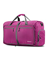 Gonex 60L Foldable Travel Duffel Bag for Luggage, Gym, Sport, Camping, Storage, Shopping Water Repellent & Tear Resistant (Rose Red)