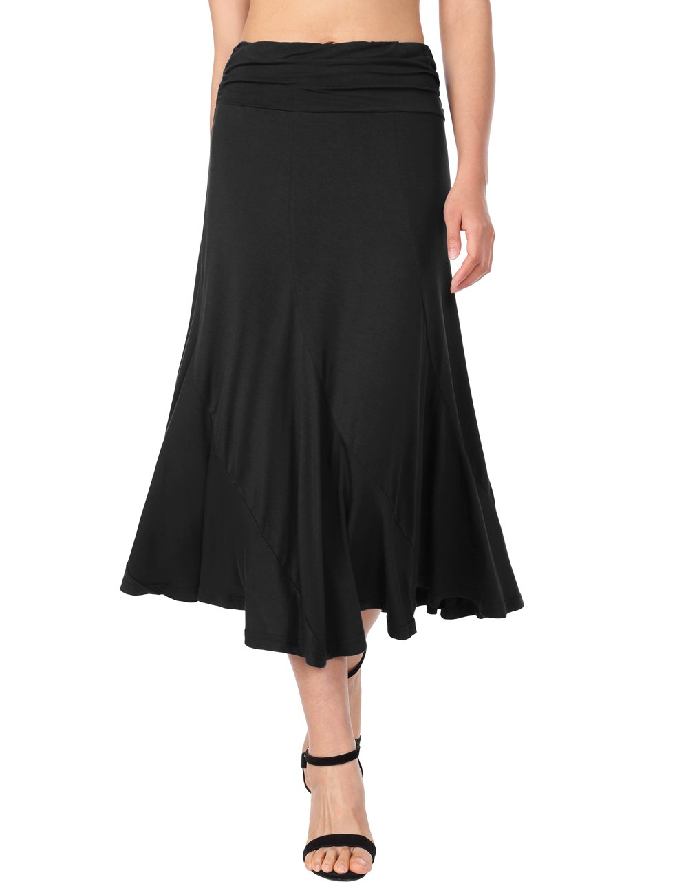 Summer Skirts for Women Casual,DJT Women's Vintage High Waist Shirring A-Line Long Midi Skirt Small Black