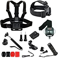 Ideal 20 Piece Accessory Kit for Gopro with Action Mount Adapter for Any Smartphone. Strongest Hold on the Market. For Gopro Camera, or Any Phone. Includes Head, Chest, Helmet, Monopod, Hand Grip.