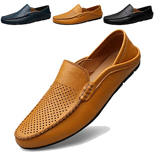 MCICI Mens Loafers Moccasin Driving Shoes Premium Genuine Leather Casual Slip On Flats Fashion Slipper Breathable Big Size,Yellow,US11.5
