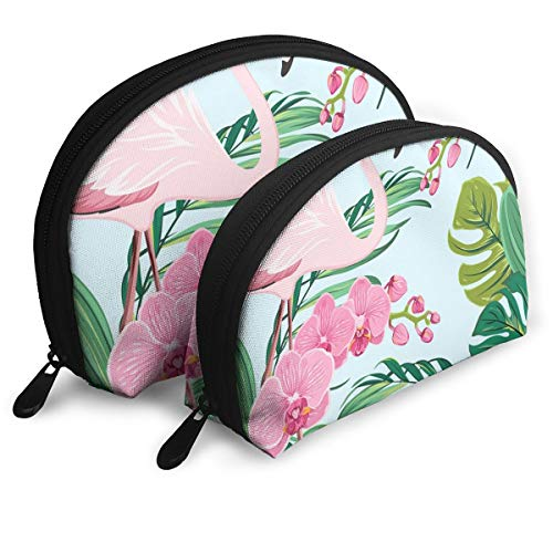 Portable Bags Clutch Pouch Pink Orchid Flamingo Tropical Leaves Zipper Shell Makeup Storage Bag 2pcs Toiletries Bags Cosmetic Pouch