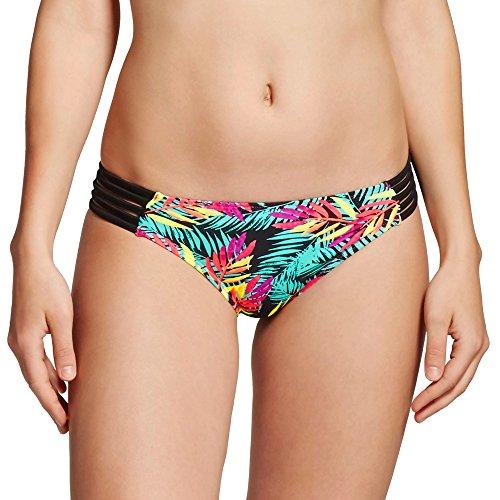 (Xhilaration Women's Strappy Cheeky Bikini Bottom (X-Small, Black Palm) )