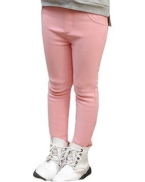 Runyue Leggings Térmicos para Niños Niñas Cálido Básico Pantalones Cintura Elástica Jeggings Leggins Pantalón Pink 110CM: Amazon.es: Deportes y aire libre