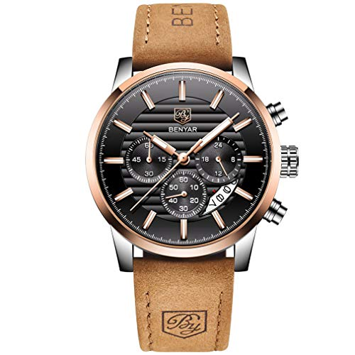 BENYAR Quartz Chronograph Waterproof Watches Business and Sport Design Leather Band Strap Wrist Watch for Men (Brown Black) -