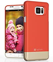 Galaxy Note 5 Case - VENA [iSlide] Dock-Friendly Ultra Slim Fit [Hard | Protection] Matte UV Coated Case for Samsung Galaxy Note 5 - Coral Red/Champagne Gold