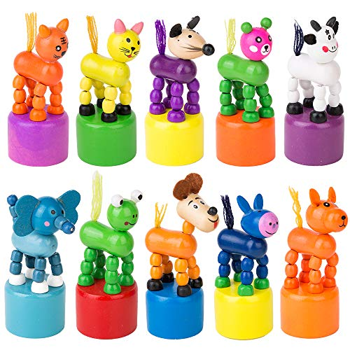 Press Base - PROLOSO 10 Pcs Finger Puppets Wooden Animals Push Up Toys Press Base