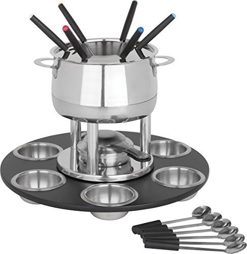 Trudeau Home Presence 23 Piece Stainless-Steel Lazy Susan Fondue Set - 64 Ounce (Steel Fondue Set)