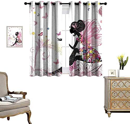 homehot Girls Window Curtain Fabric Fairy Girl with Wings in a Floral Dress Magical Fantasy Garden Flying Butterflies Drapes for Living Room Multicolor