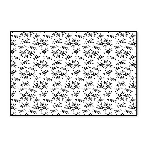 - Floral Bath Mat Non Slip Simplistic Monochrome Spring Leaves Abstract Florets Stem Plants Essence Theme Customize Door mats for Home Mat 24